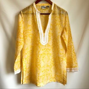 Silk Blend Sunny Yellow & White Floral Sheer Tunic